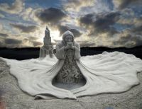 praying knight - sand sculpture