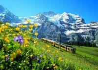 Scenic Train Ride Through Switzerland