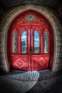 Red door with rounded design
