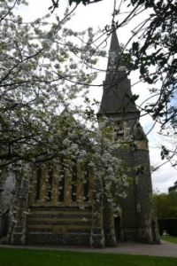 church in spring