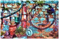 The Colours of a Painted Brick Garden Wall and Sundry Rusty Decorations