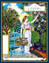Themes Vintage illustrations/pictures - Month of June Art Nouveau