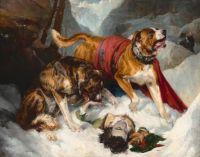 Edwin Landseer (British, 1802–1873), Alpine Mastiffs Reanimating a Distressed Traveler (1820)