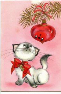 Cute Kitten - Vintage Christmas Card (Dec16P45)