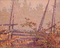 Gustaf Fjaestad Autumn Landscape with roundpole fence