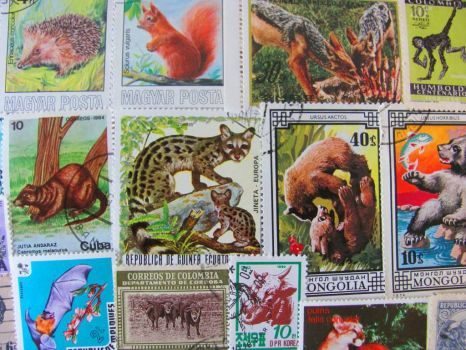 Vintage animal stamps from around the world
