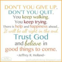 Don't give up trust God