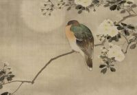 Vintage Oriental painting of bird