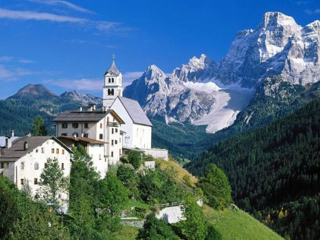 Countryside with Dolomites,Alps-Italy