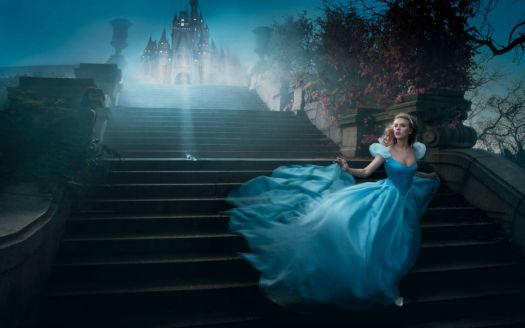 Cinderella (Scarlett Johansson) running for the coach (note her lost slipper)
