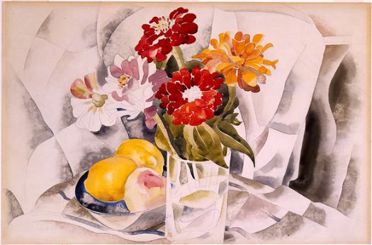 Zinnias and Blue Dish of Lemons by Charles Demuth