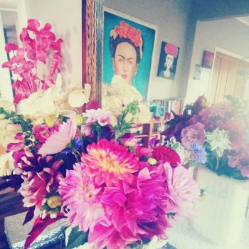 Frida and Flowers in Daughter's Dining Room