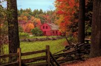 autumn-fall-colors-over-a-red-wooden-home