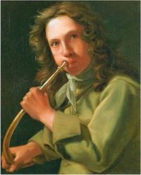 Portrait of a young man playing a hunting horn