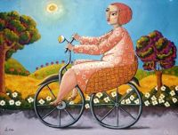Woman on bicycle by Vito Cano