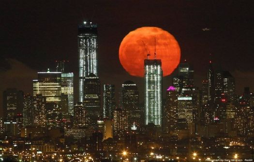 Full Moon over Manhattan - photog unknown