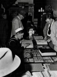 Inside a stamp and coin store in the 1940s