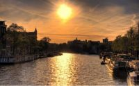 Amsterdam with golden sun
