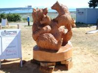 Bear Sow and Cub carving, Campbell River, BC