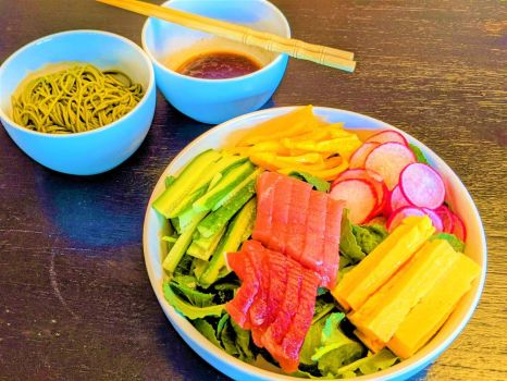 Sashimi and soba dinner to refuel and cool down after my run in the California sun