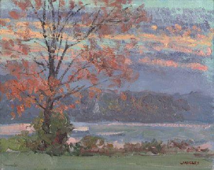 Peach Lake Sunrise in Autumn