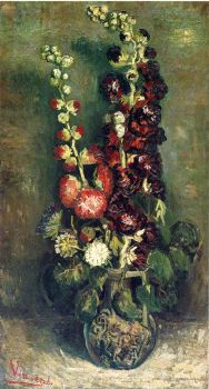 Vase of Hollyhocks -1886