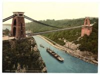 Clifton Suspension bridge, Bristol, UK. Circa 1880. Hand tinted photograph.