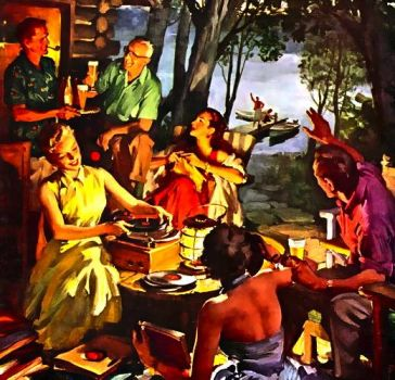EVENING AT THE LAKE - BEER AD - 1955