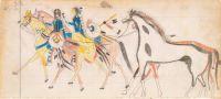 Two Riders Leading Horses (Henderson Ledger Artist B), Frank Henderson (Native American, Hinono'eiteen (Arapaho), 1862–1885), ca. 1882
