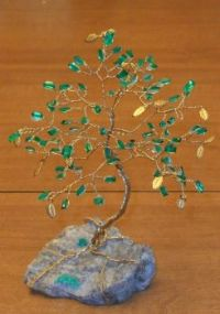 lab-created Emerald gem tree on a natural Emerald-crystals-in-matrix base