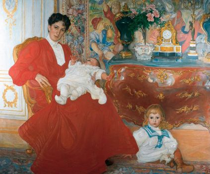 Portrait of Mrs. Dora Lamm and two sons, by Carl Larsson