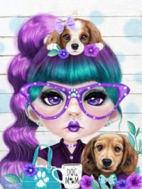 Puppy Crazed Petunia by Artist Sheena Pike