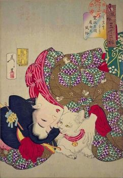 Kansei Woman and Cat - Yoshitoshi