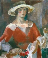 Karl (Carl) Edmund Walser (Swiss, 1877–1943), Portrait of a Young Woman in a Red Dress with Straw Hat