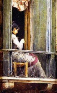 Tom Roberts  woman on a balcony-1884.