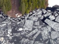 Air View of Spring Lake Ice Melt Alaska