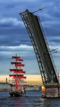 Bridge over red sails