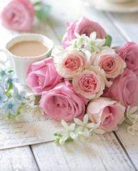 Kávička s růžemi