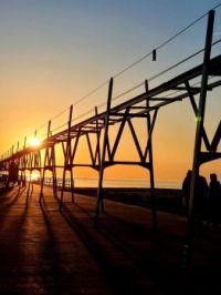 """Catwalk over Lake Michigan at sunset"""