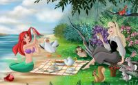 The Little Mermaid and Sleeping Beauty having a picnic