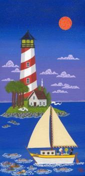 Lighthouse and sailboat scene