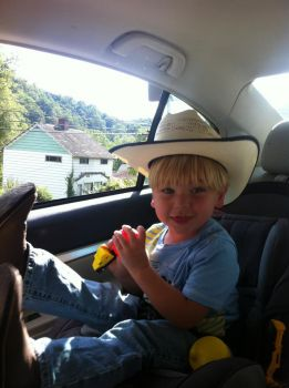 Justin,my grandson,our little cowboy! LOL