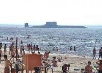Russian Submarine cruising the beach