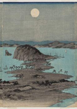 Evening View of the Eight Famous Places near Kanazawa Under Full Moon in Musashi Province, 1857, Part of a set.  Utagawa Hiroshige
