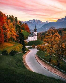A Church in Autumn, Bavaria, Southern Germany