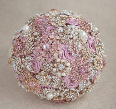 Blush Pink Ivory and Champagne wedding brooch bouquet