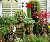 GARDEN IDEAS- USE HEAD PLANTERS...