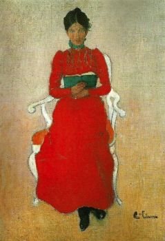 Woman reading, artist unknown.