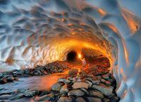 Ice tunnel under glacier