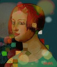 Portrait of a girl with coloured squares